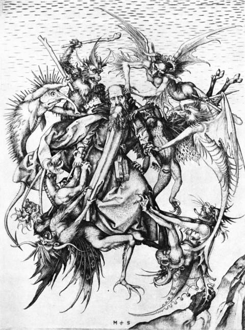 Святой Антоний Великий, избиваемый демонами, желающими прогнать его с места отшельнического подвига. Картина Мартина Шонгауэра, 1480